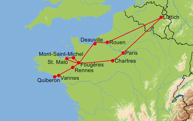 Landkarte normandie